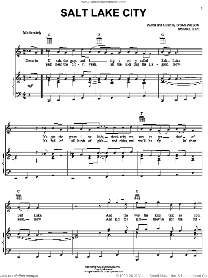 Salt Lake City sheet music for voice, piano or guitar by The Beach Boys, Brian Wilson and Mike Love, intermediate skill level