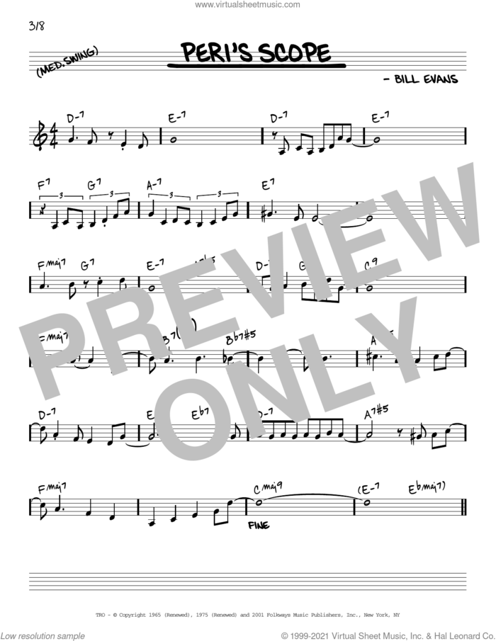 Peri's Scope [Reharmonized version] (arr. Jack Grassel) sheet music for voice and other instruments (real book) by Bill Evans and Jack Grassel, intermediate skill level