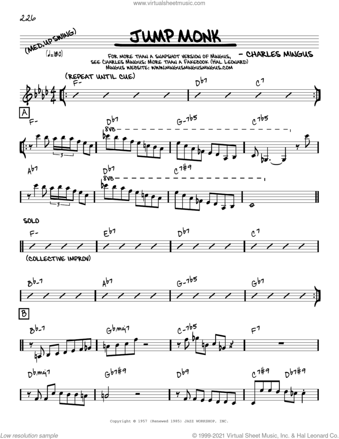 Jump Monk [Reharmonized version] (arr. Jack Grassel) sheet music for voice and other instruments (real book) by Charles Mingus and Jack Grassel, intermediate skill level