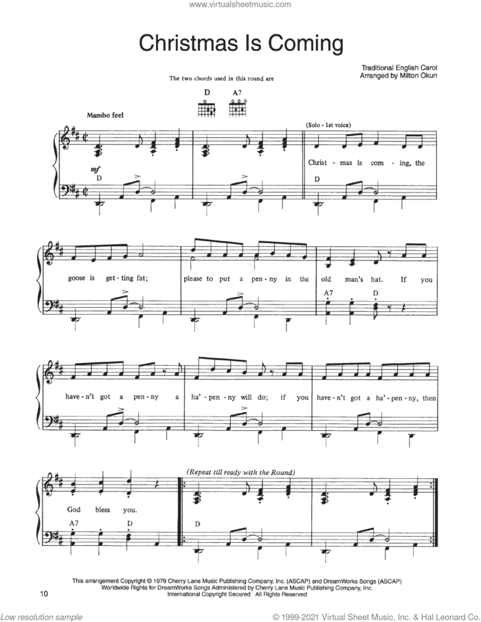 Christmas Is Coming (from A Christmas Together) sheet music for voice, piano or guitar by John Denver and The Muppets, Bob Beers (arr.) and Miscellaneous, intermediate skill level