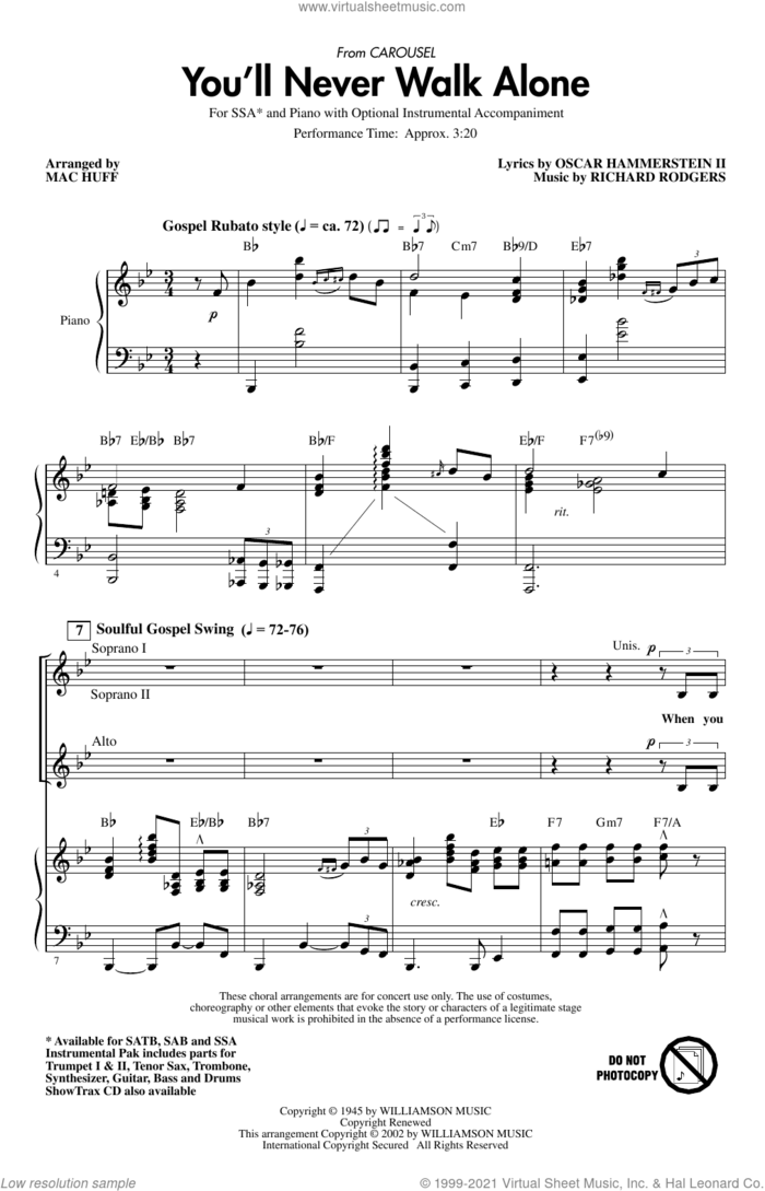 You'll Never Walk Alone (from Carousel) (arr. Mac Huff) sheet music for choir (SSA: soprano, alto) by Rodgers & Hammerstein, Mac Huff, Oscar II Hammerstein and Richard Rodgers, intermediate skill level