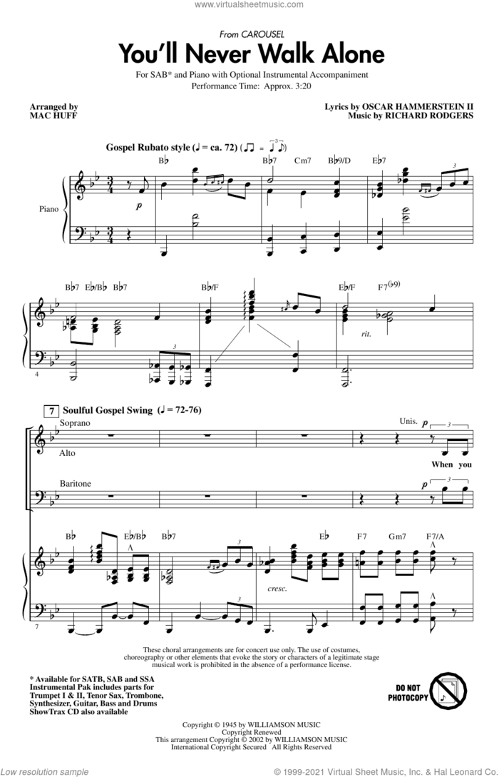 You'll Never Walk Alone (from Carousel) (arr. Mac Huff) sheet music for choir (SAB: soprano, alto, bass) by Rodgers & Hammerstein, Mac Huff, Oscar II Hammerstein and Richard Rodgers, intermediate skill level