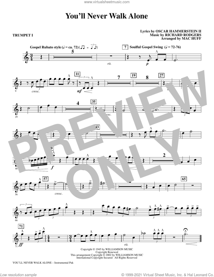 You'll Never Walk Alone (from Carousel) (arr. Mac Huff) (complete set of parts) sheet music for orchestra/band by Rodgers & Hammerstein, Mac Huff, Oscar II Hammerstein and Richard Rodgers, intermediate skill level