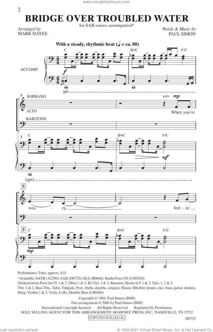 Bridge Over Troubled Water (arr. Mark Hayes) sheet music for choir (SAB: soprano, alto, bass) by Simon & Garfunkel, Mark Hayes and Paul Simon, intermediate skill level