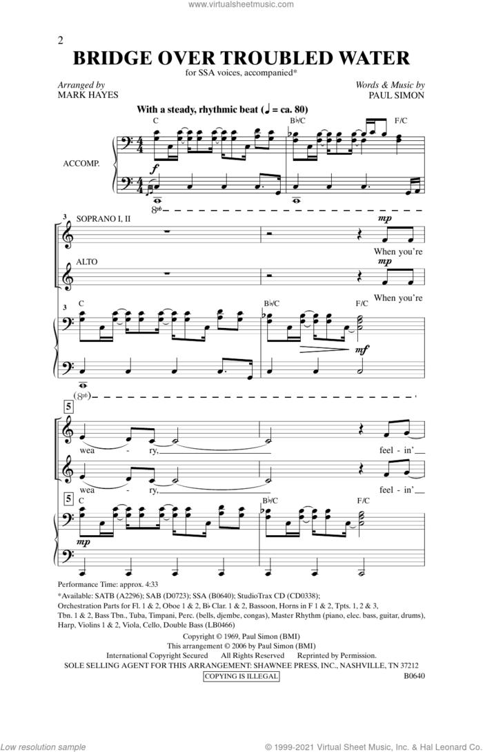 Bridge Over Troubled Water (arr. Mark Hayes) sheet music for choir (SSA: soprano, alto) by Simon & Garfunkel, Mark Hayes and Paul Simon, intermediate skill level