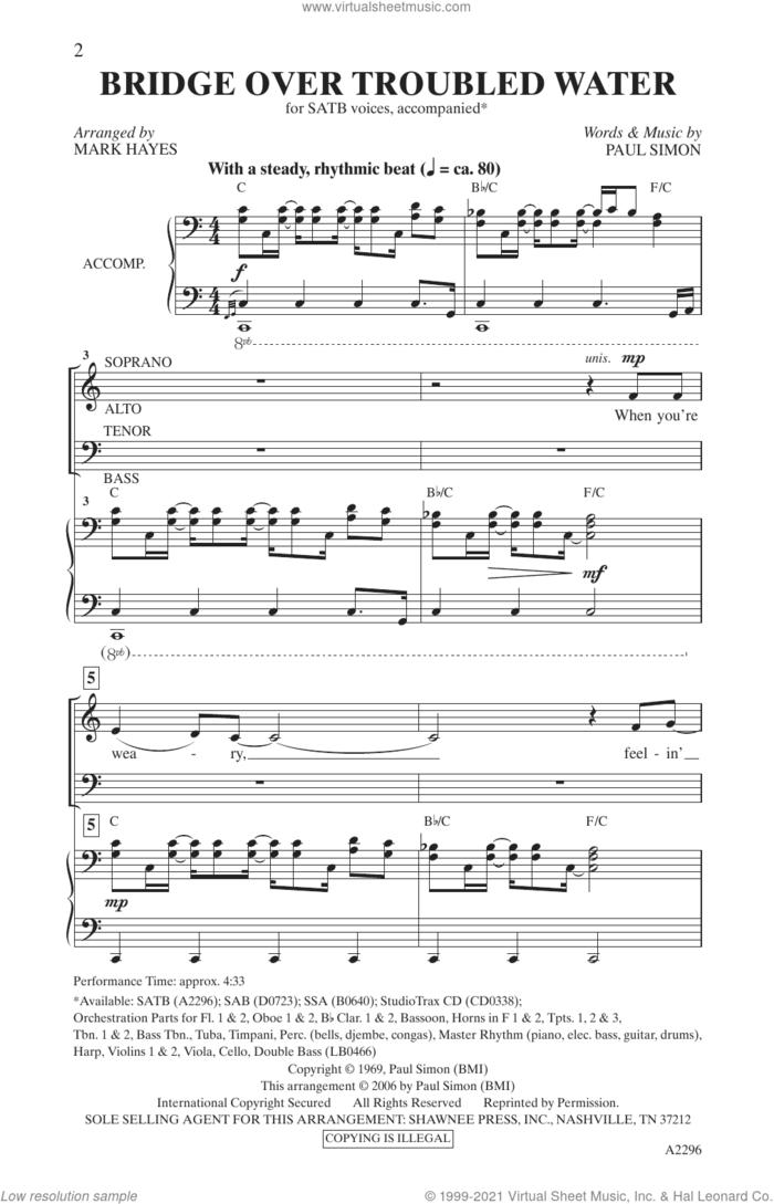 Bridge Over Troubled Water (arr. Mark Hayes) sheet music for choir (SATB: soprano, alto, tenor, bass) by Simon & Garfunkel, Mark Hayes and Paul Simon, intermediate skill level