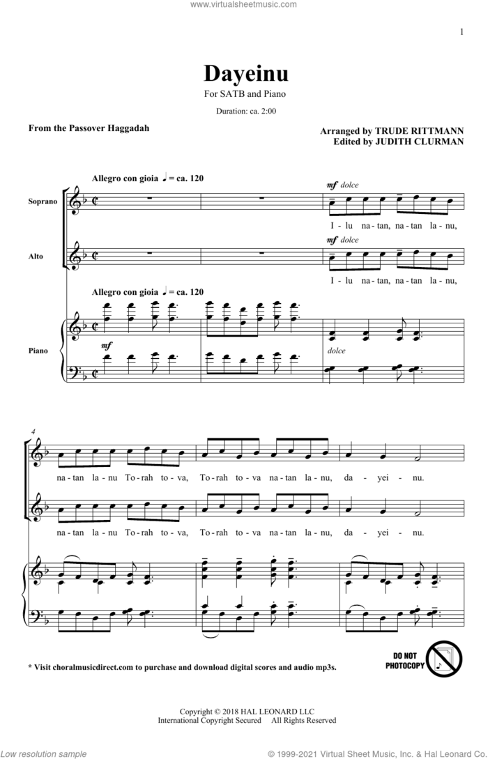 Dayeinu sheet music for choir (SATB: soprano, alto, tenor, bass) by Trude Rittmann, Judith Clurman and From the Passover Haggadah, intermediate skill level