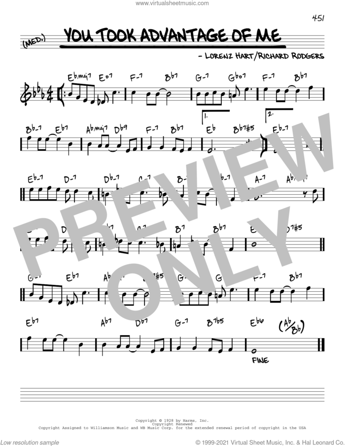You Took Advantage Of Me [Reharmonized version] (arr. Jack Grassel) sheet music for voice and other instruments (real book) by Richard Rodgers, Jack Grassel, Lorenz Hart and Rodgers & Hart, intermediate skill level