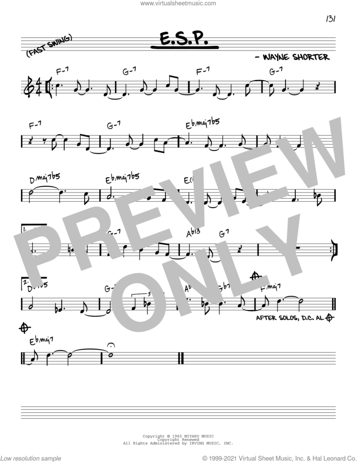 E.S.P. [Reharmonized version] (arr. Jack Grassel) sheet music for voice and other instruments (real book) by Wayne Shorter and Jack Grassel, intermediate skill level