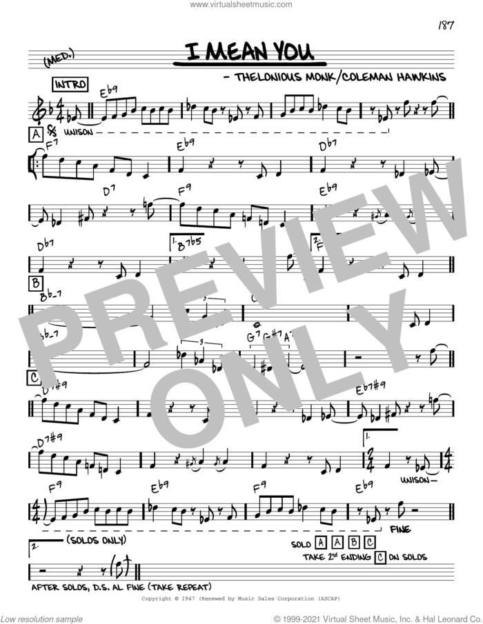 I Mean You [Reharmonized version] (arr. Jack Grassel) sheet music for voice and other instruments (real book) by Thelonious Monk, Jack Grassel and Coleman Hawkins, intermediate skill level