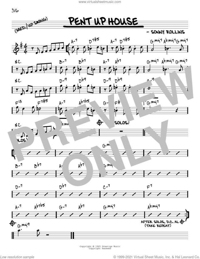 Pent Up House [Reharmonized version] (arr. Jack Grassel) sheet music for voice and other instruments (real book) by Sonny Rollins and Jack Grassel, intermediate skill level