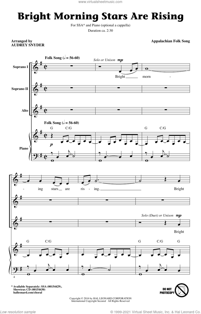 Bright Morning Stars Are Rising (arr. Audrey Snyder) sheet music for choir (SSA: soprano, alto) by Appalachian Folk Song and Audrey Snyder, intermediate skill level
