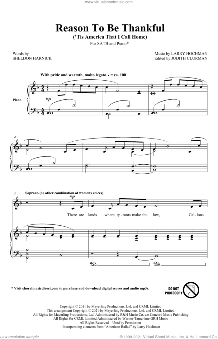 Reason To Be Thankful ('Tis America That I Call Home) sheet music for choir (SATB: soprano, alto, tenor, bass) by Larry Hochman and Sheldon Harnick and Larry Hochman and Sheldon Harnick, intermediate skill level