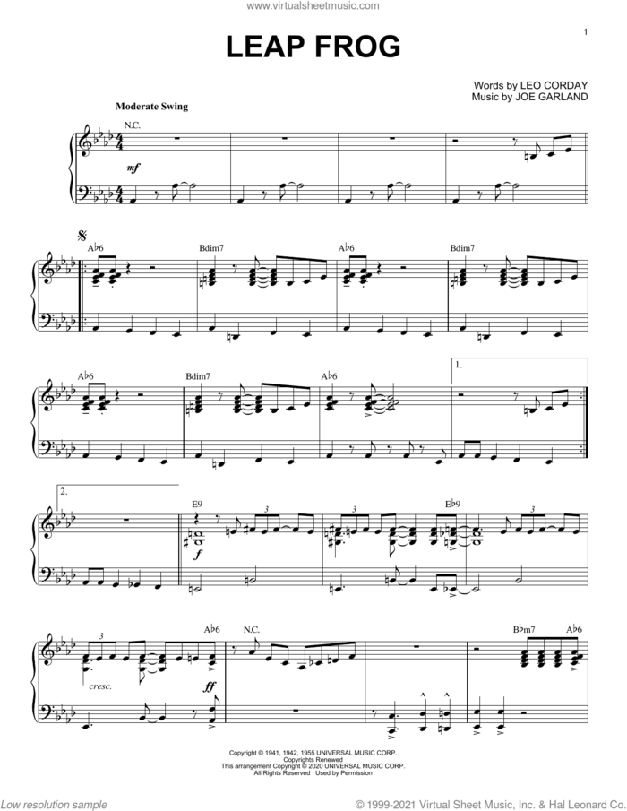 Leap Frog [Jazz version] (arr. Brent Edstrom) sheet music for piano solo by Chuck Alaimo Quartet, Brent Edstrom and Joe Garland, intermediate skill level