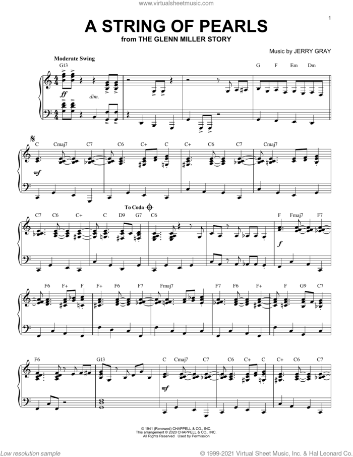 A String Of Pearls [Jazz version] (from The Glenn Miller Story) (arr. Brent Edstrom) sheet music for piano solo by Eddie DeLange, Brent Edstrom and Jerry Gray, intermediate skill level