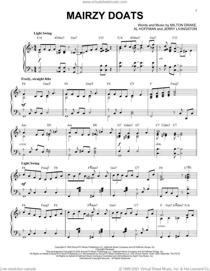 Mairzy Doats [Jazz version] (arr. Brent Edstrom) sheet music for piano solo by Merry Macs, Brent Edstrom, Al Hoffman, Jerry Livingston and Milton Drake, intermediate skill level