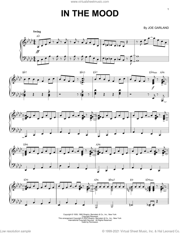 In The Mood [Jazz version] (arr. Brent Edstrom) sheet music for piano solo by Glenn Miller & His Orchestra, Brent Edstrom and Joe Garland, intermediate skill level