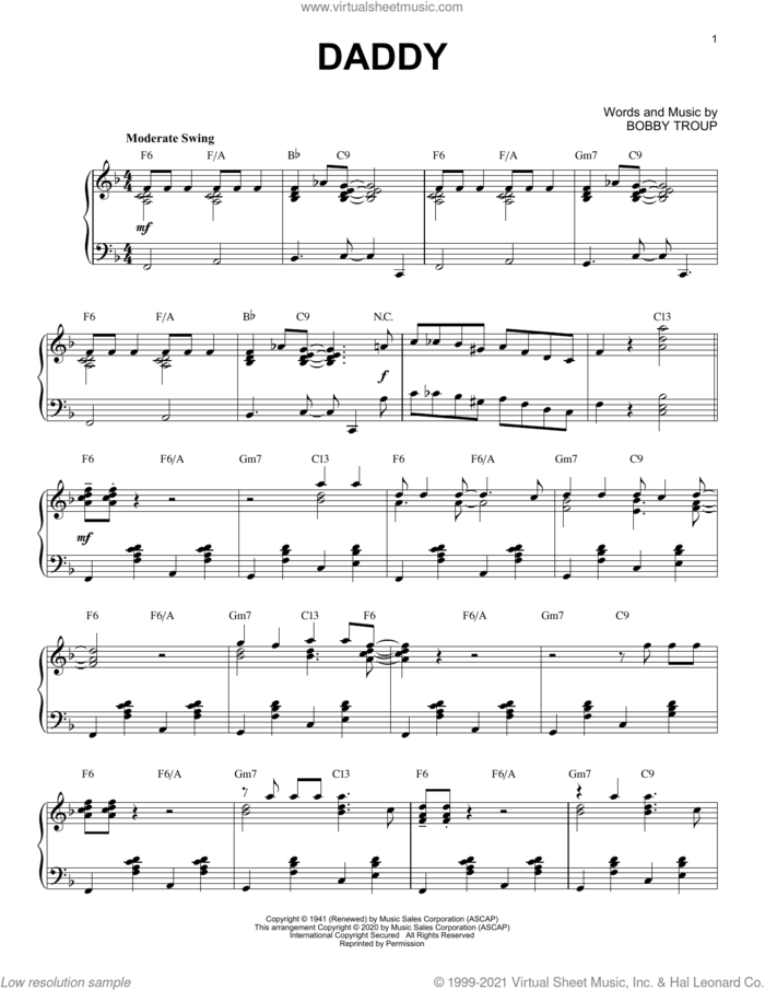 Daddy [Jazz version] (arr. Brent Edstrom) sheet music for piano solo by Sammy Kaye, Brent Edstrom, Joan Davis & Jinx Falkenburg and Bobby Troup, intermediate skill level
