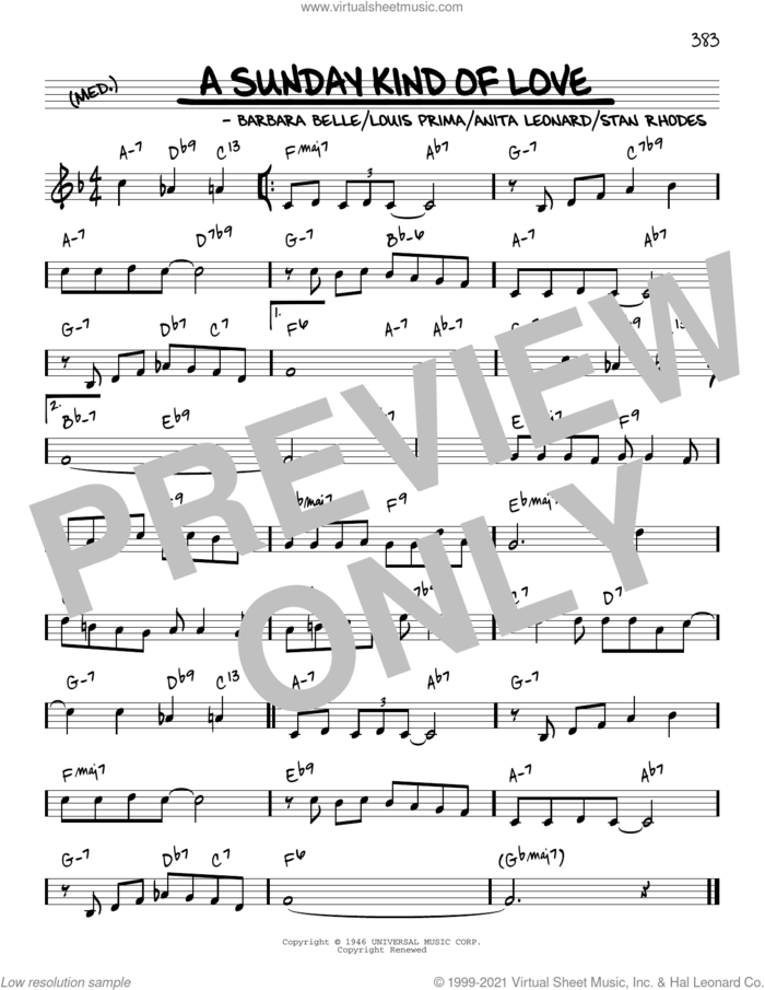 A Sunday Kind Of Love [Reharmonized version] (arr. Jack Grassel) sheet music for voice and other instruments (real book) by Reba McEntire, Jack Grassel, Anita Nye Leonard, Barbara Belle, Louis Prima and Stanley Rhodes, intermediate skill level
