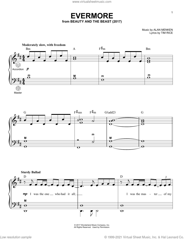 Evermore (from Beauty And The Beast) sheet music for accordion by Alan Menken and Tim Rice, intermediate skill level