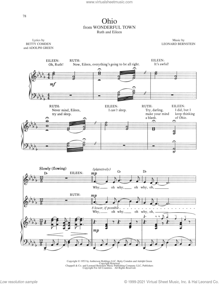 Ohio (from Wonderful Town) sheet music for voice and piano by Betty Comden, Adolph Green and Leonard Bernstein, intermediate skill level