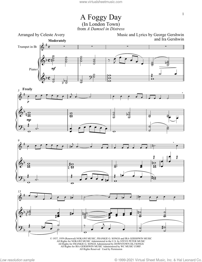 A Foggy Day (In London Town) (from A Damsel In Distress) sheet music for trumpet and piano by George Gershwin & Ira Gershwin, Celeste Avery, George Gershwin and Ira Gershwin, intermediate skill level