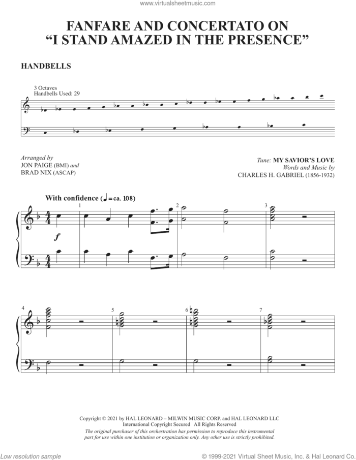 Fanfare And Concertato On 'I Stand Amazed In The Presence' (arr. Jon Paige and Brad Nix) sheet music for orchestra/band (handbells) by Charles H. Gabriel, Brad Nix and Jon Paige, intermediate skill level