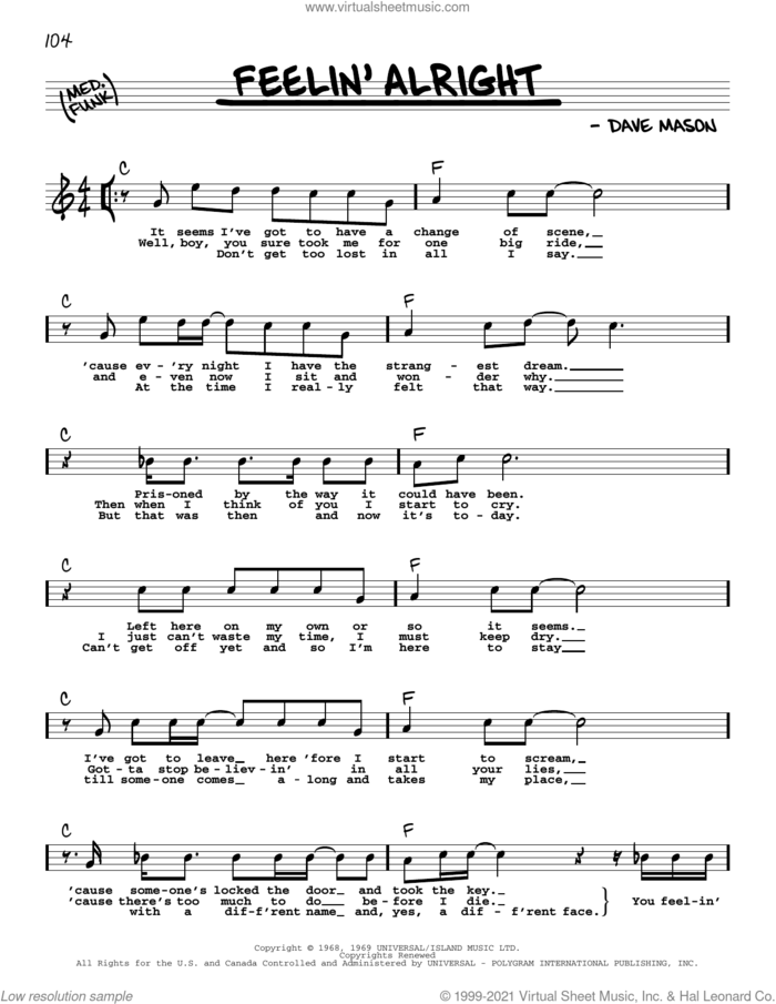 Feelin' Alright sheet music for voice and other instruments (real book with lyrics) by Joe Cocker, Traffic and Dave Mason, intermediate skill level