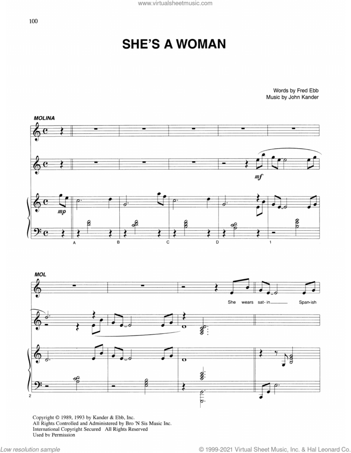 She's A Woman (from Kiss Of The Spider Woman) sheet music for voice and piano by John Kander, Fred Ebb and Kander & Ebb, intermediate skill level