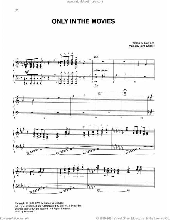 Only In The Movies (from Kiss Of The Spider Woman) sheet music for voice and piano by John Kander, Fred Ebb and Kander & Ebb, intermediate skill level