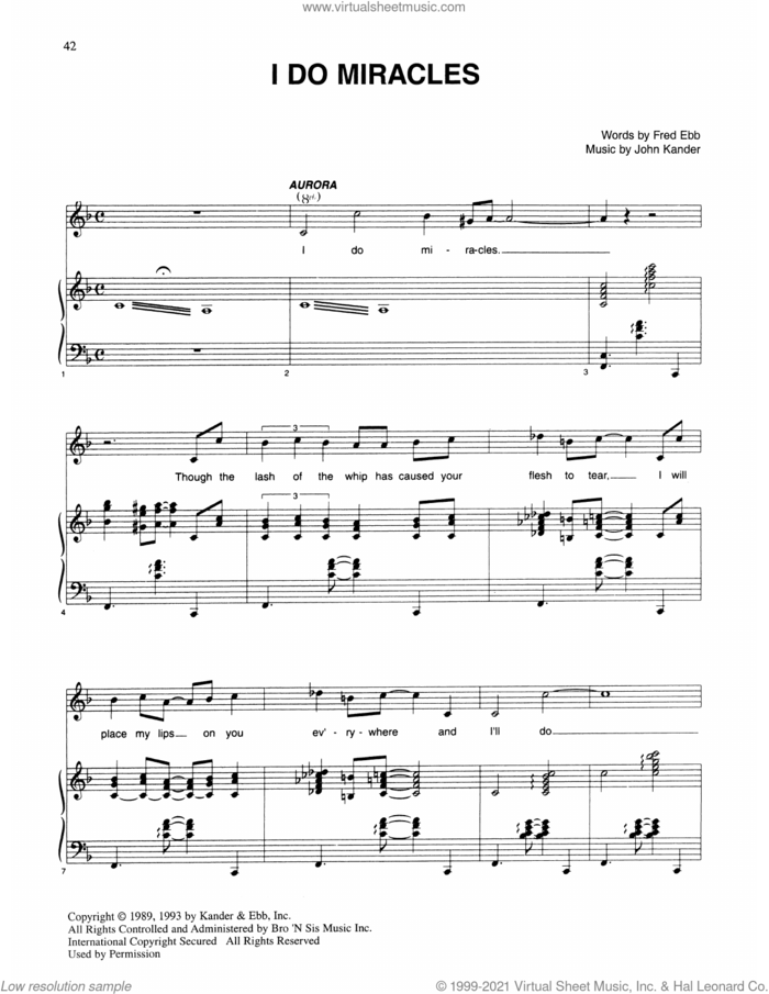 I Do Miracles (from Kiss Of The Spider Woman) sheet music for voice and piano by John Kander, Fred Ebb and Kander & Ebb, intermediate skill level