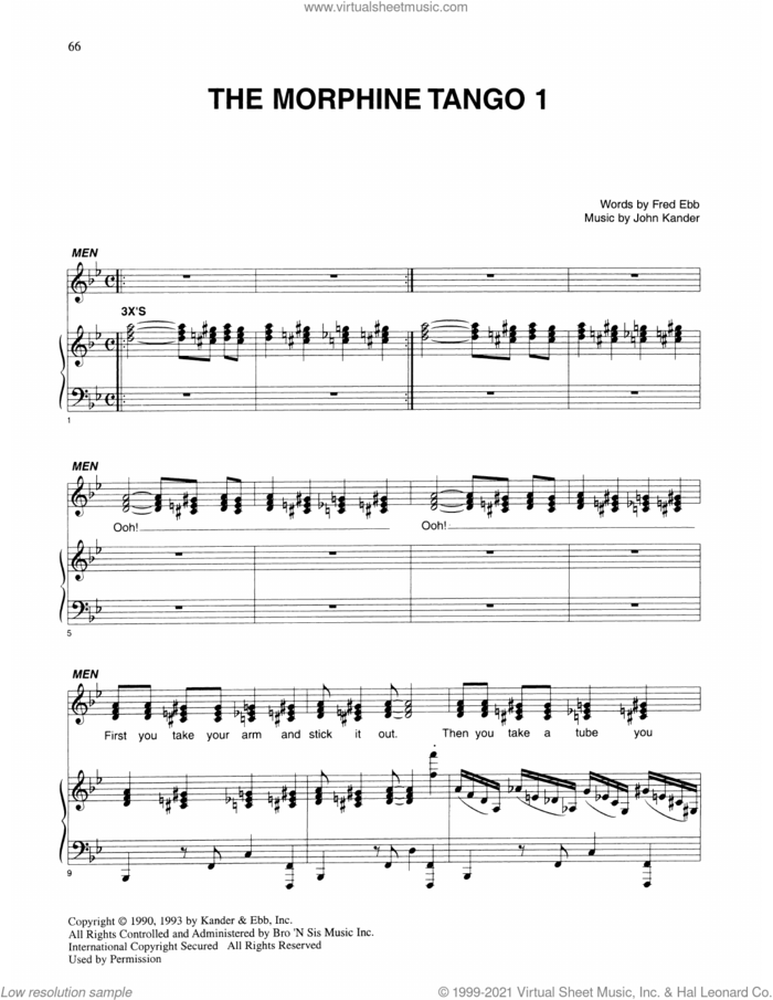 The Morphine Tango 1 (from Kiss Of The Spider Woman) sheet music for voice and piano by John Kander, Fred Ebb and Kander & Ebb, intermediate skill level