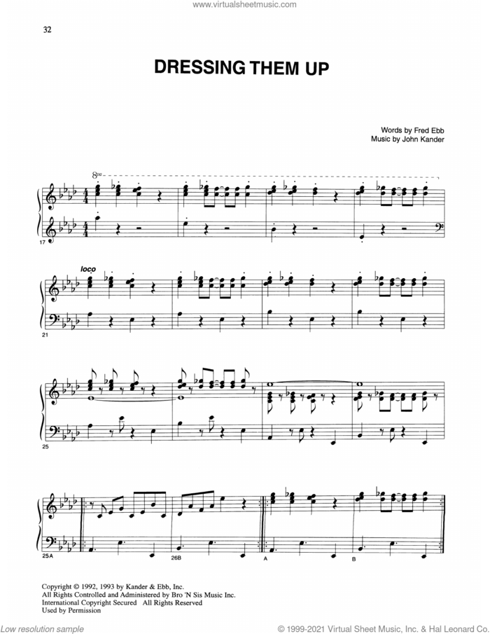 Dressing Them Up (from Kiss Of The Spider Woman) sheet music for voice and piano by John Kander, Fred Ebb and Kander & Ebb, intermediate skill level