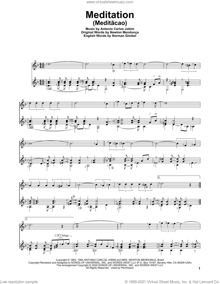 Meditation (Meditacao) sheet music for guitar solo by Norman Gimbel, Charles Duncan, Antonio Carlos Jobim and Newton Mendonca, intermediate skill level