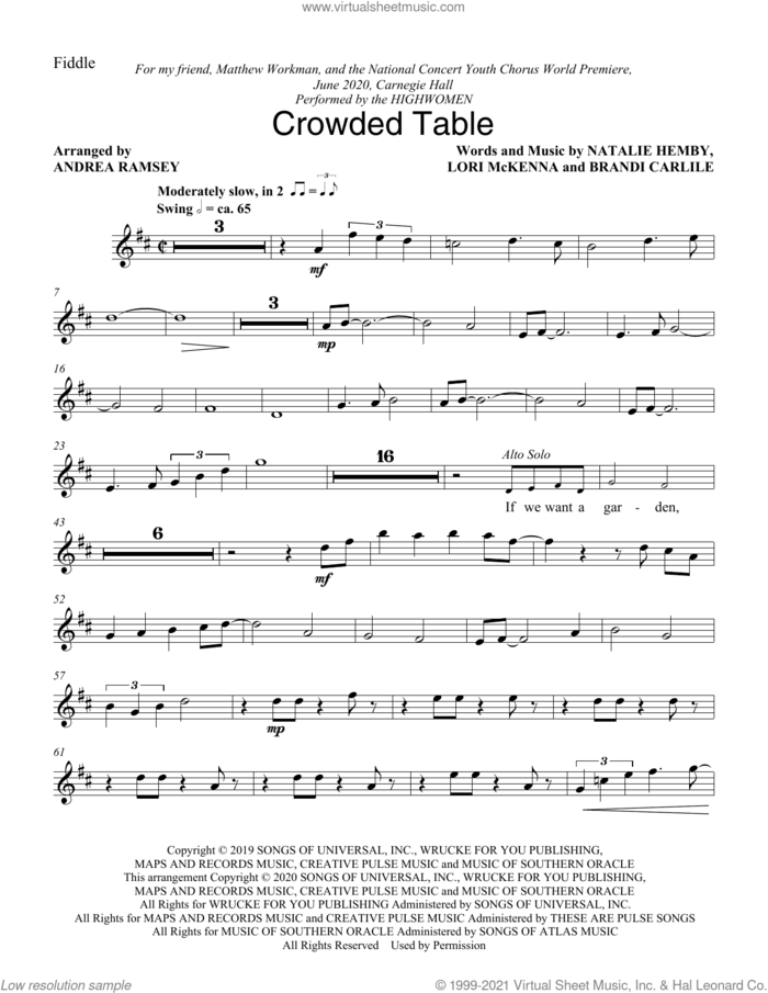 Crowded Table (arr. Andrea Ramsey) sheet music for orchestra/band (fiddle) by The Highwomen, Andrea Ramsey, Brandi Carlile, Lori McKenna and Natalie Hemby, intermediate skill level