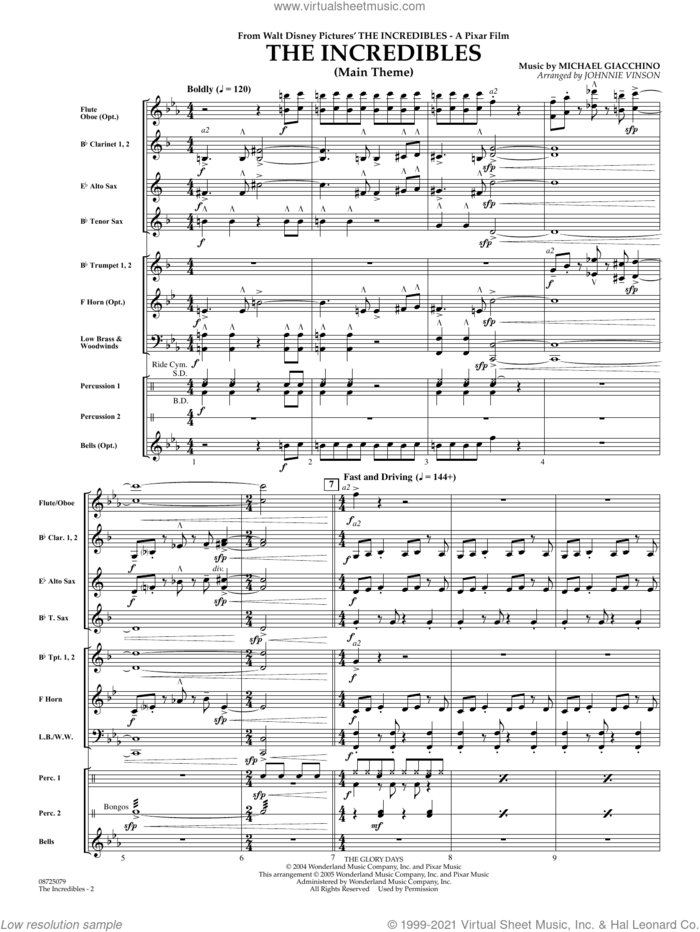 The Incredibles (Main Theme) (arr. Johnnie Vinson) (COMPLETE) sheet music for concert band by Michael Giacchino and Johnnie Vinson, intermediate skill level