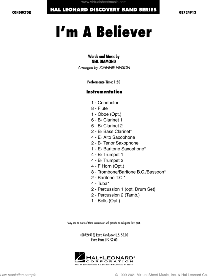 I'm a Believer (arr. Johnnie Vinson) (COMPLETE) sheet music for concert band by Neil Diamond, Johnnie Vinson, Smash Mouth and The Monkees, intermediate skill level