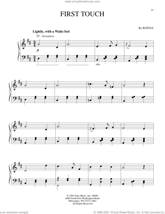 First Touch sheet music for piano solo by Kostia, intermediate skill level
