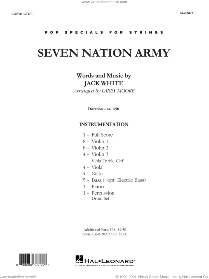 Seven Nation Army (arr. Larry Moore) (COMPLETE) sheet music for orchestra by Larry Moore, Jack White and White Stripes, intermediate skill level