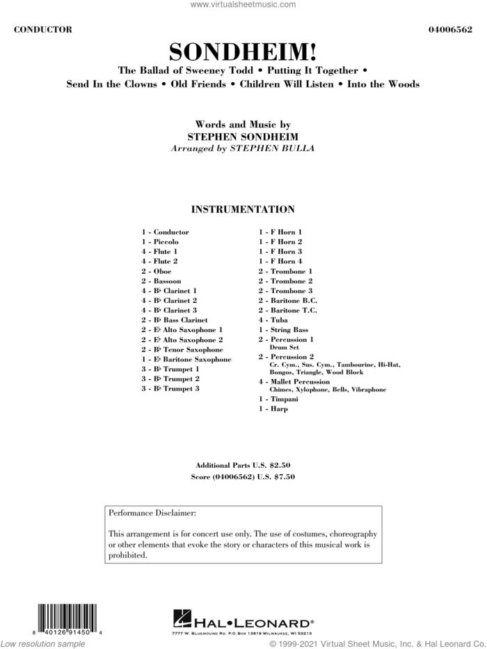 Sondheim! (arr. Stephen Bulla) (COMPLETE) sheet music for concert band by Stephen Sondheim and Stephen Bulla, intermediate skill level