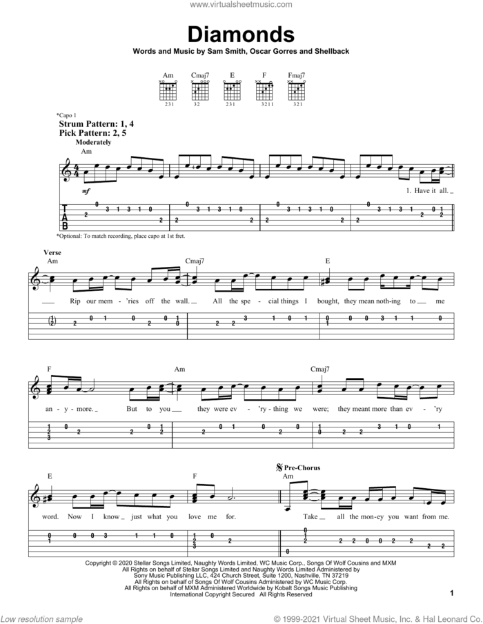 Diamonds sheet music for guitar solo (easy tablature) by Sam Smith, Oscar Gorres and Shellback, easy guitar (easy tablature)