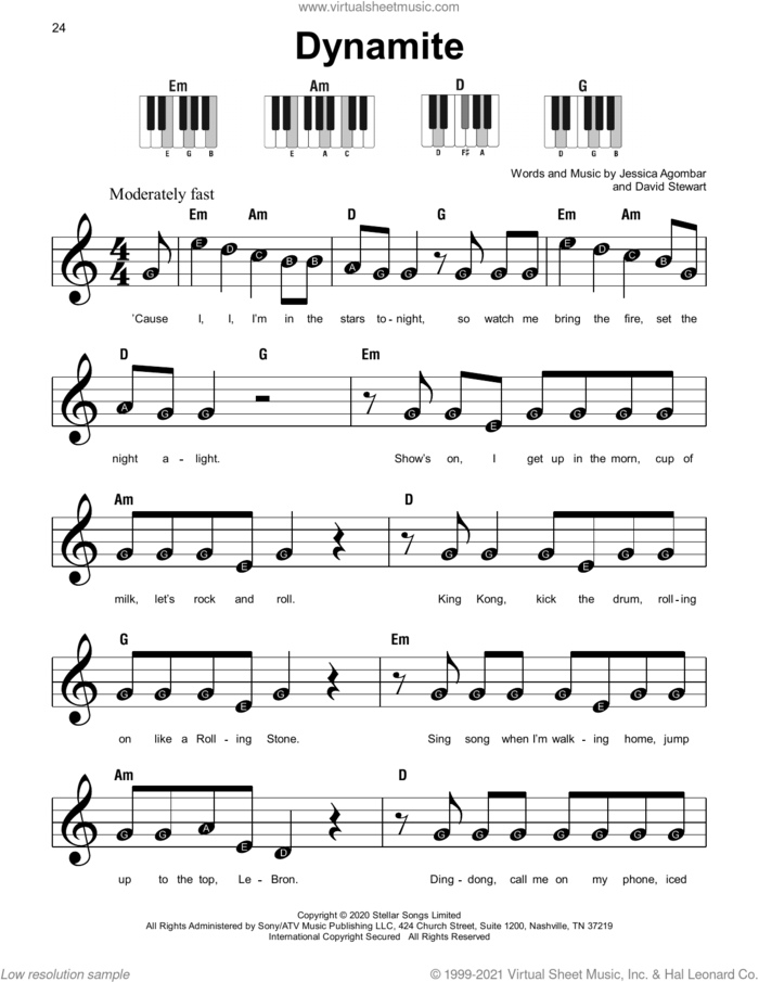 Dynamite sheet music for piano solo by BTS, Dave Stewart and Jessica Agombar, beginner skill level