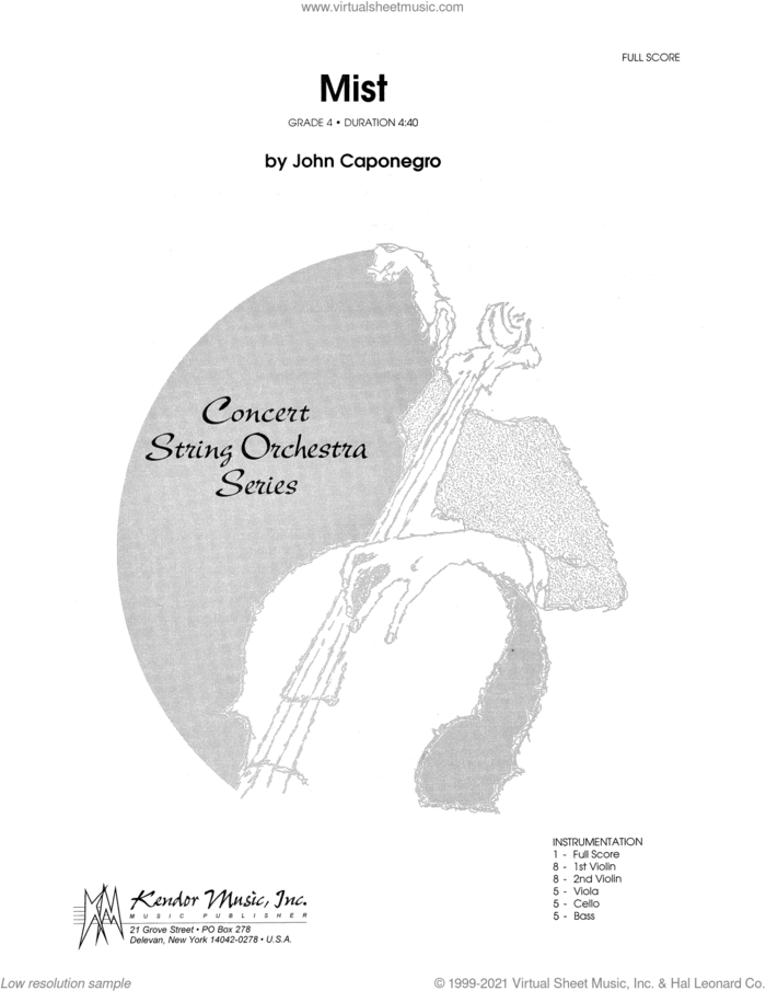 Mist (COMPLETE) sheet music for orchestra by John Caponegro, intermediate skill level