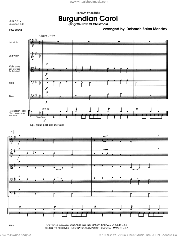 Burgundian Carol (COMPLETE) sheet music for orchestra by Deborah Baker Monday and Miscellaneous, intermediate skill level