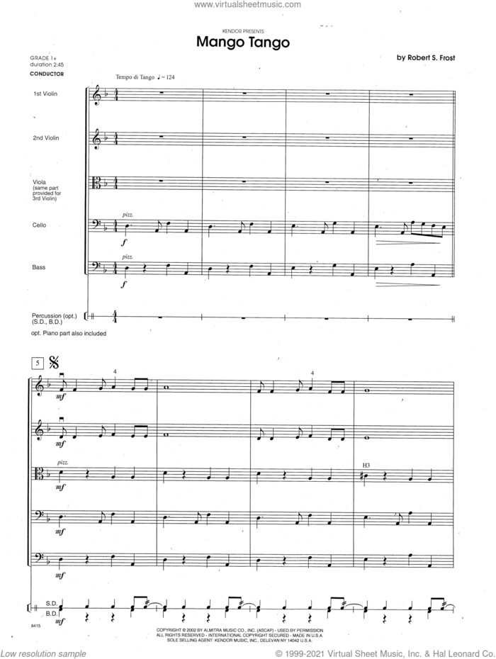 Mango Tango (COMPLETE) sheet music for orchestra by Robert S. Frost, intermediate skill level