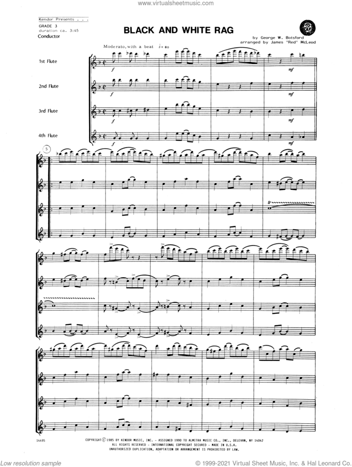 Black and White Rag (COMPLETE) sheet music for flute quartet by James 'Red' McLeod and George W. Botsford, intermediate skill level