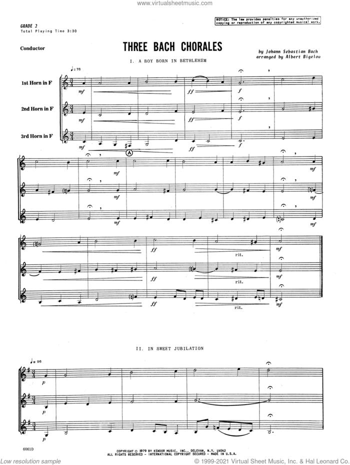 Three Bach Chorales (arr. Albert Bigelow) (COMPLETE) sheet music for horn trio by Johann Sebastian Bach and Albert Bigelow, classical score, intermediate skill level