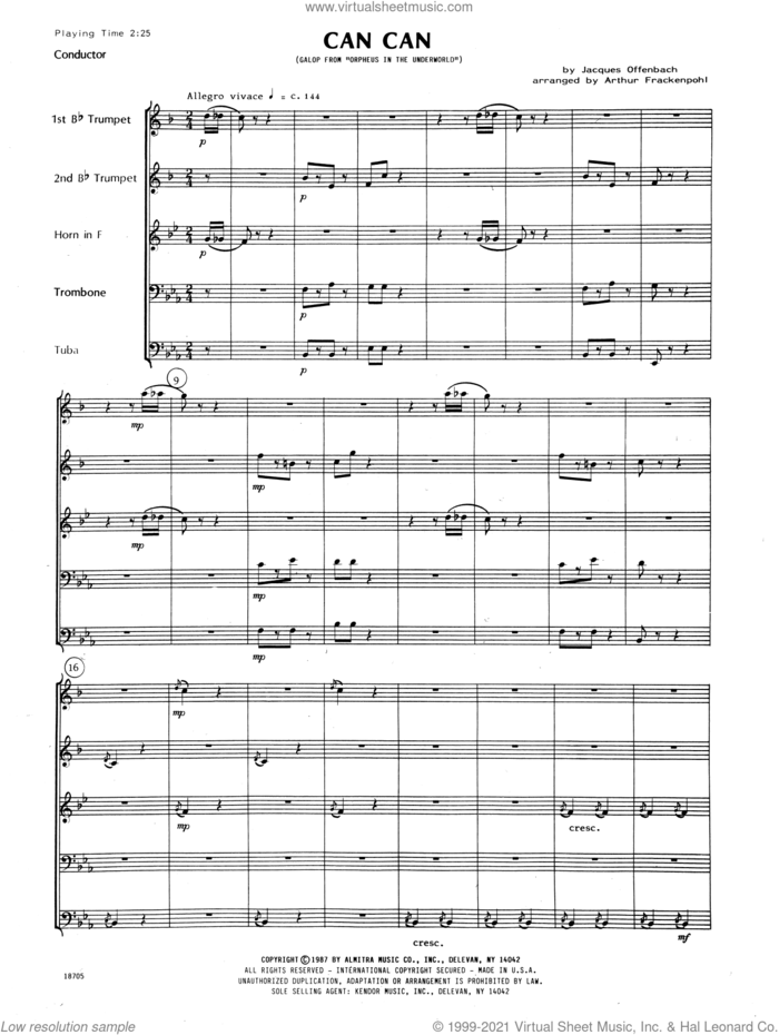 Can Can (arr. Arthur Frackenpohl) (COMPLETE) sheet music for brass quintet by Jacques Offenbach and Arthur Frackenpohl, classical score, intermediate skill level