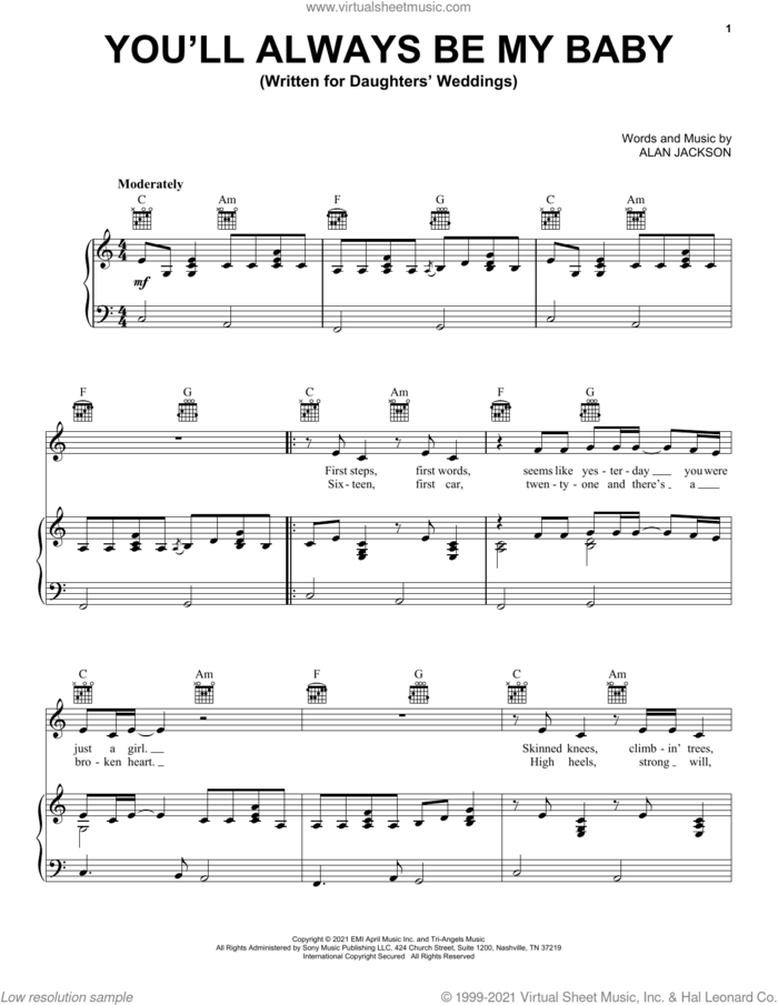 You'll Always Be My Baby sheet music for voice, piano or guitar by Alan Jackson, wedding score, intermediate skill level