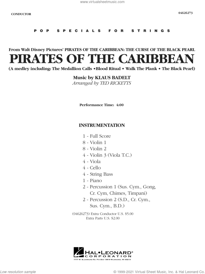Pirates of the Caribbean (Medley) (arr. Ted Ricketts) (COMPLETE) sheet music for orchestra by Klaus Badelt and Ted Ricketts, intermediate skill level